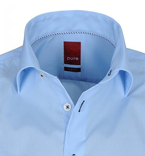 Pure - Slim Fit - Herren Langarm Hemd in Farben hellblau und schwarz (3355 722) Blau (11)