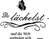 greenluup® Wandtattoo Sprüche Buddha Glück Motivation in Schwarz mit Schmetterling Wohnzimmer, Küche, Schlafzimmer, Büro, Praxis, Laden