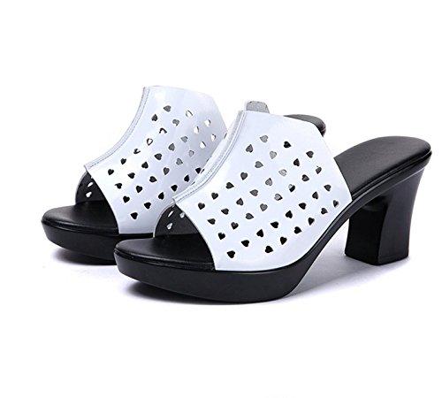 SFSYDDY-Estate Bianco 7.5Cm Pantofole Donna Forte Pantofole Hollow Soft Superficie Antiskid Madre Forte Pantofole Spesso Sotto Una Parola Di Pantofole 36 Forty