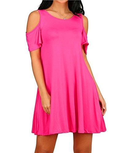 HAOMEILI Damen Langarm Kalte Schulter Swing Kleid Tank Top Loose Casual T-Shirt Kleid mit Pocket (XL(EU 42-44), Rose rot)