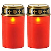BRLIUK Flameless LED Solar Candle Lamp, Rechargeable LED Candle Lights, Waterproof Memorial Candle Decorative Tea Lights for Cemetery Ritual, Garden, Party, Holidays, Home Decor(2pcs,Red)