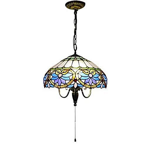 CCSUN Blue Tiffany Stil Hängende Beleuchtung, 3-licht Glas Deckenleuchten Mit Reißverschluss-schalter E27 Lampe Für Restaurant Korridor Schlafzimmer-blau 40cm(16inch) -