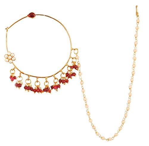 Touchstone Indische ethnische Bollywood Wunsch symbolische Glasperlen rot Faux Rubin Faux Perlen Designer Brautschmuck Nath (Nase Zubehör) für Damen Multicolor 1