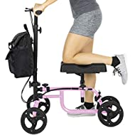Vive Knee Walker - Steerable Scooter for Broken Leg, Foot, Ankle Injuries - Kneeling Quad Roller Cart - Orthopedic Seat Pad for Adult and Elderly Medical Mobility - 4 Wheel Caddy Crutch (Pink)