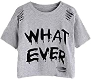 SheIn Women's Casual Letter Print Ripped Short Sleeve Crop Tee Top T-S