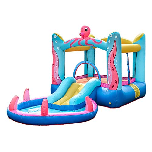 Bouncy Castles Children's Toys Octopus Inflatable Castle Large Household Toys Outdoor Trampoline Slide Children's Playground (Color : Multi-colored, Size : 380 * 200 * 180cm)