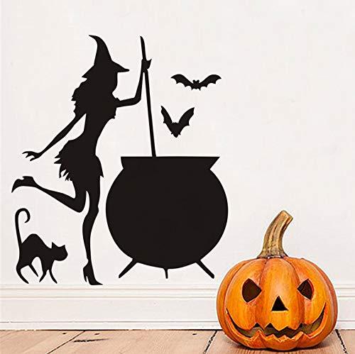 (Likeai Wandaufkleber Halloween Flying Stick Katze Hexe Wandaufkleber Wohnzimmer Wanddekoration Hexe Silhouette Vinyl Applique Abnehmbare Kunstwand 38 * 43 cm)