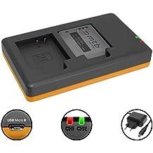 Caricabatteria doppio (Corrente, USB) per Li-50b / Olympus SH-.SP-.SZ-.TG-.VG-.VR-.XZ-.mju-.µ-. / Pentax/Ricoh WG-. - v. lista! | Alimentatore 2A incluso | 2 batterie simultaneamente caricabili