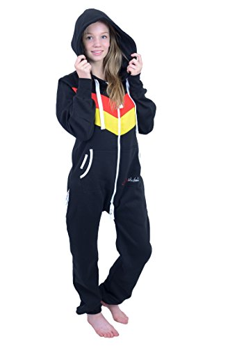 The Classic Unisex Onesie in Black and Red Yellow Stripes - L - 4