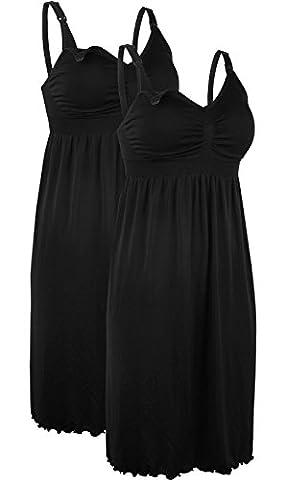 2x robes de maternité chemise de nuit sans manches Allaitement noir Robe special nourrir du lait XL