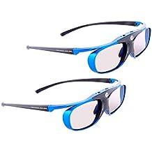 "2x HighEnd gafas 3D DLP-Link - Hi-Shock DLP PRO 4G, ""Blue Heaven"" - ligero, ultrabrillante e inteligente. 100% ""Link Block"" para el mejor contraste y colores. Perfecto para todas DLP 3D Ready Proyectores Optoma HD131x, HD25, Benq w1070 [YDD3PG, 96-144Hz, recargable]"