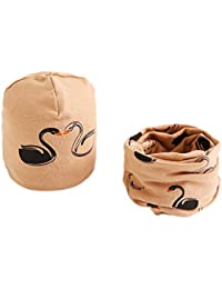 Hosaire Ensemble Echarpe Bonnet Enfants Hiver Chapeau Motif Grue blanche  Bébé Tricoté Bonnet Foulard Crochet Béret Casquette pour Enfants… bf7c1e2b5e1