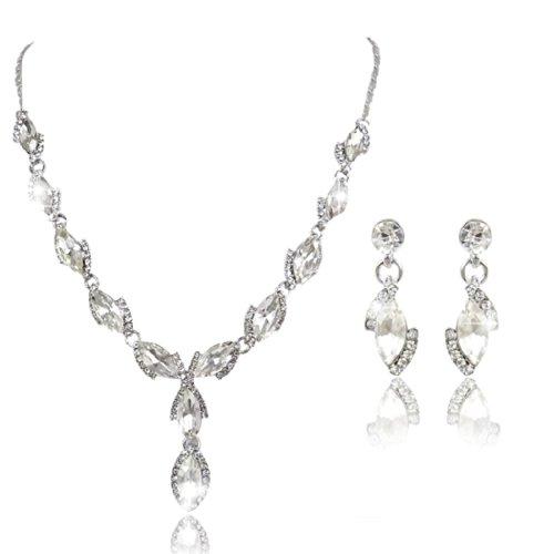 Ever Faith Orecchini collana di cristallo nuziale austriaca lacrima Foglia Set Cancella N01407-1