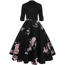ZAFUL Mujer Vintage Vestido Anos 50 Falda Plisada Grandes Impresion Floral Mangas Medias Vestidos de Fiesta A-Line Retro Rockabilly Dress Rosa XL