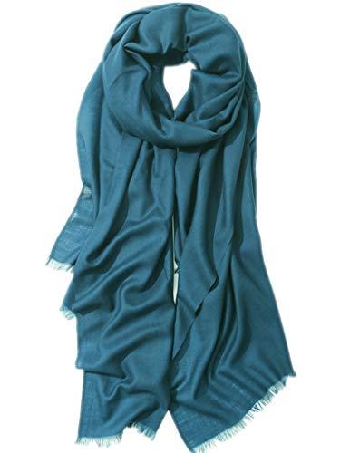 Prettystern - Extra Großer Schal Pashmina XXL Tuch 100 Garn 100% Wolle Besonders Fein & Weich - petrol blau