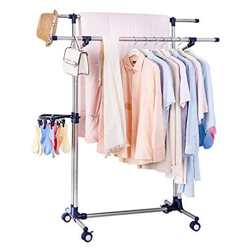 BAOYOUNI Baoyounii Kleiderständer, strapazierfähig, doppelstöckig, zum Trocknen von Kleidung, ausziehbare Stangen, kommerzielle Qualität für Waschküche, Schlafzimmer, Ankleideraum Marineblau