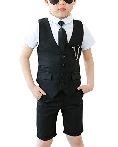 GladiolusA Jungen Hochzeit Anzüge Kinderanzug Weste + Shorts + Hemd + Krawatte Schwarz/120