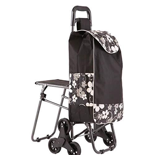 KDMB Einkaufstrolley Mit Sitz,6 Wheel Trolley Handwagen Klappbar Treppensteigerfunktion Abnehmbare Tasche Stabiler Stahlgestell Shopper, Black