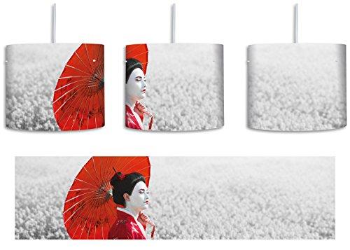 Geisha auf dem Feld B&W Detail inkl. Lampenfassung E27, Lampe mit Motivdruck, tolle Deckenlampe, Hängelampe, Pendelleuchte - Durchmesser 30cm - Dekoration mit Licht ideal für Wohnzimmer, Kinderzimmer, Schlafzimmer