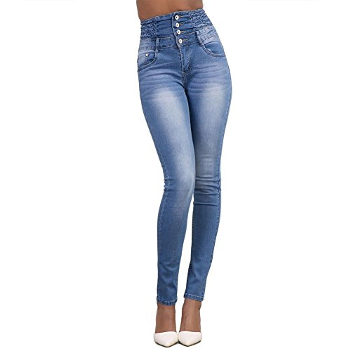 d7539a75b WintCO Blue-Jeans High Waist Women Slim Jeans Jeans Slim Sexy Pants  Straight Panty Blue