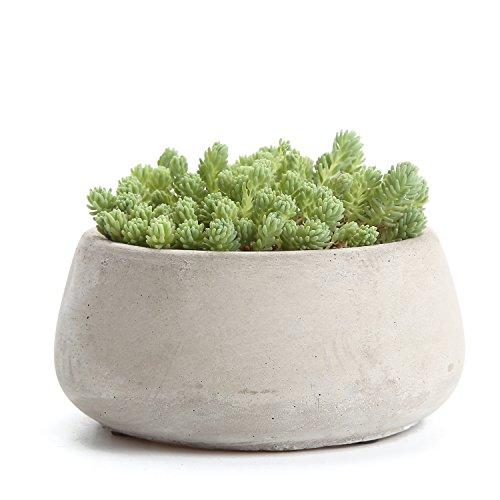 Newsbenessere.com 41j02sWeyzL T4U, bei vasi rotondi in cemento serie Rachel per cactus e piante grasse, vasi da fiori, fioriere, contenitori, vasi per finestre