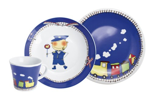 Kahla 32D200O76643C Kids Abenteuerexpress | Kindergeschirr | Geschirr-Set für Jungs bunt rund 3 teilig Set Tasse Suppenteller Teller