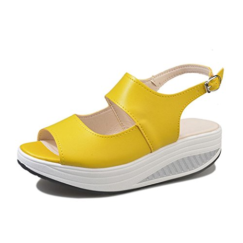 Beautyjourney sandali donna con zeppa estive elegant scarpe donna estive eleganti scarpe donna tacco medio sandali gioiello -donna estate sandali scarpe romane infradito (34, r-giallo)