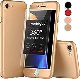 Mobilyos Funda iPhone 6s Plus 360 Grados Completa - Carcasa Integral con Protector de Pantalla de Vidrio Templado para iPhone 6 / 6s Plus - Funda Delantera y Trasera con Cristal Templado (Oro)
