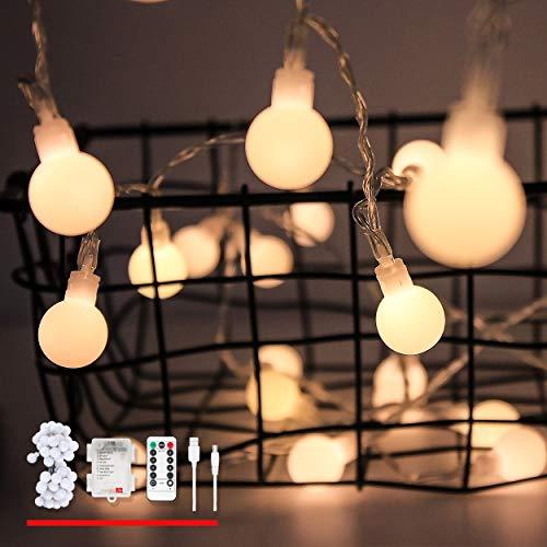 LED Globe Lichterketten, von myCozyLite®, USB und batteriebetriebene Lichterketten, 5 Meter mit 50 LED, Warmweiß, Dimmbar, Fernbedienung mit Timer, Wasserdicht für Innen und Außen Dekoration