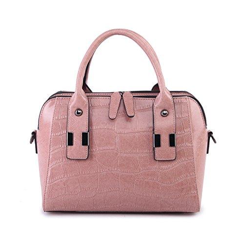 Xinmaoyuan Borse donna casual borsette in cuoio da donna in pelle spalla singolo borsette Boston Bag,Rosa