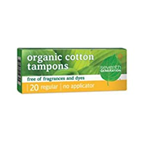 Chlorine Free Organic Cotton Tampons - Super Absorbency, 20 ct,(Seventh Generation)
