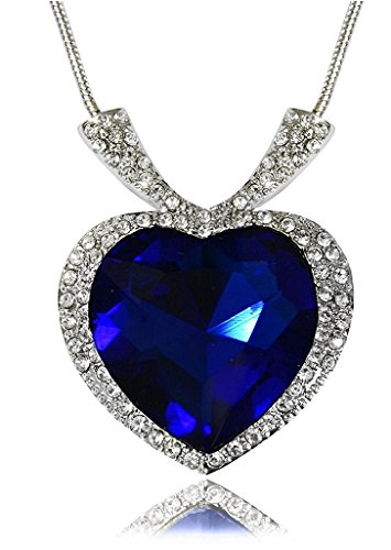 Sapphire Blue Heart Of The Ocean Titanic Necklace Pendant with Chain Austrian Crystal 18K White Gold Plated Romantic Jewellery for Women by Caratcube (CTC - 124)