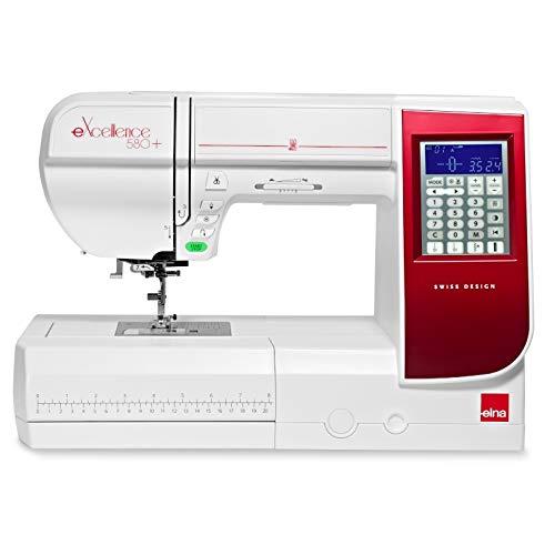 Elna EXELLENCE 580+ Nähmaschine, großer Nähbereich, komfortable Funktionen, Benutzerfreundlich
