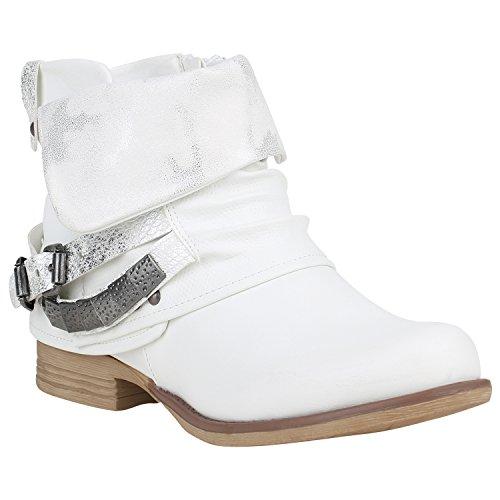 Damen Biker Boots Used Look Stiefeletten Nieten Schuhe 151791 Weiss Nieten 38 | Flandell®