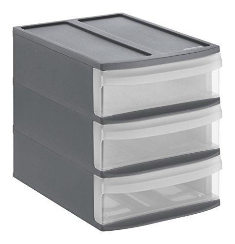 Rotho Systemix Schubladenbox mit 3 Schüben, Kunststoff (PP), anthrazit / transparent, Gr. S / A5 (26,5 x 19,2 x 23,3 cm)