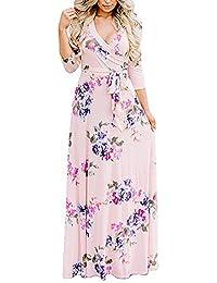 Lover-Beauty Vestido Largo Floral Print Casual para Noche Fiesta Playa Fiesta Manga Larga Cuello