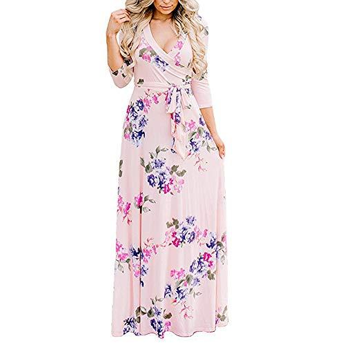 Lover-Beauty Kleider Damen Lang Sommerkleider Maxikleid Boho Strandkleid mit Blumen Rosa Damen Langarm Bodenlanges Langes Kleid Elegante Partykleid Cocktail m