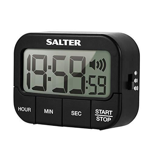 SALTER extralauter Küchentimer aus Kunststoff, Küchenuhr, Vorwärtszählen und Countdown Funktion, großes LCD Display, 3 einstellbare Töne/Lautstärken, Timer