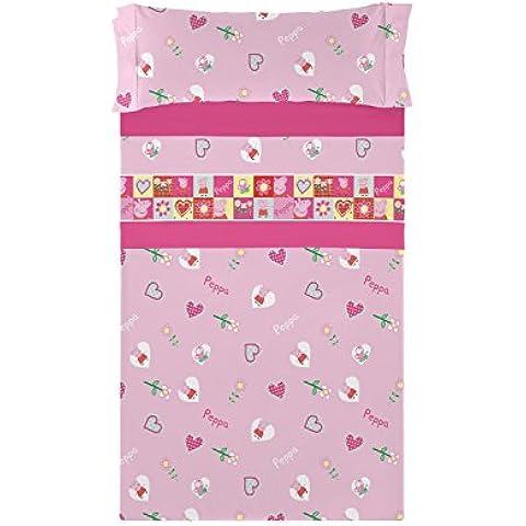 Juego de Sábanas Invierno FRANELA OFICIAL PEPPA PIG PATH cama 90 color rosa