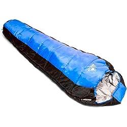 Alpine's Lab Saco de Dormir Tipo Momia para Las 4 Estaciones Relleno Sintético 300gr/m2 - Funda de Compresión Impermeable - Acoplable