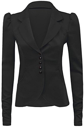 new-womens-ladies-long-sleeves-puff-shoulder-front-five-button-panel-blazer-jacket-uk-14-black