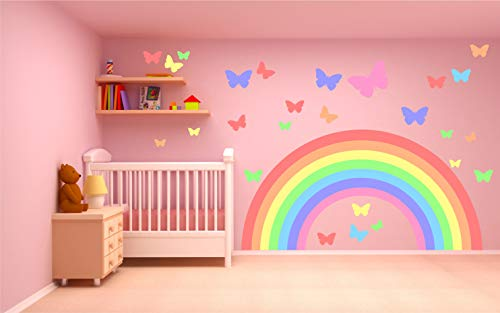 Kapowboom Graphics PASTEL RAINBOW & BUTTERFLIES WALL STICKER KIT decal art nursery cute girl