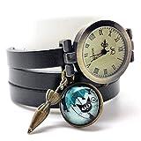 montre bracelet en cuir noir, montre multirangs'Le chat au parapluie', montre 3 tours...
