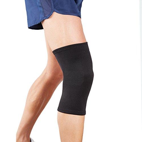 Actesso elastica ginocchiera tutore ginocchio - supporto ideale per dolore, distorsion, lesione del legamenti o per uso sportiva. ideal destro o sinistro (nero, media)