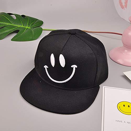 mlpnko Flacher Hut des Smiley gesticktes Kind-Hip-Hop- Hutkind-Hutvisier ganz schwarzer Code