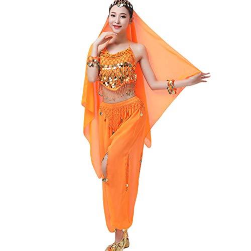 Sentaoa Damen Belly Dance Tanz Kostüm Split Bauchtanz Set 4-teiliges Set BH Tops/Hosen/Kopf Schleier/Armband (Orange, One Size) (Tribal Fusion Dance Kostüm)
