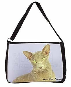 """Oriental chat Love You Mum """"pour ordinateur portable Noir Grand sac cadeau de Noël"""