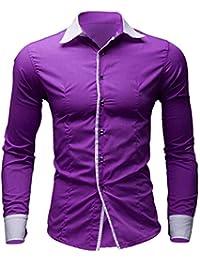 WWricotta LuckyGirls Camisa para Hombre Negocio Camisetas de Manga Larga  Originales Inglaterra Caballero Casual Slim Fit 46db4581d76