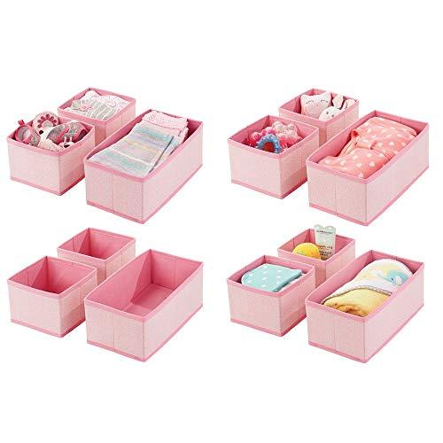 mDesign 12er-Set Aufbewahrungsbox - atmungsaktive Stoffbox mit Fischgrätmuster für Windeln, Lätzchen etc. - vielseitige Schubladen Organizer für das Kinderzimmer - pink