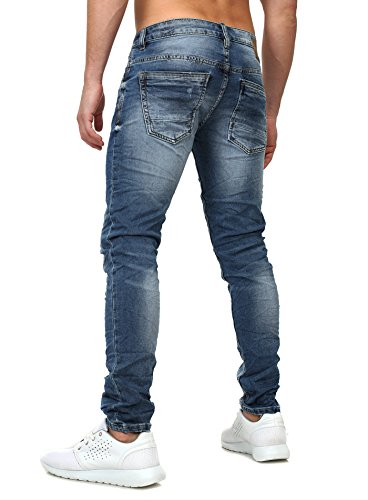 Y-Two Herren Slim Fit Jeans CAMPINAS Leichte Destroyed Effekte Vintage Waschung All Seasons Blau